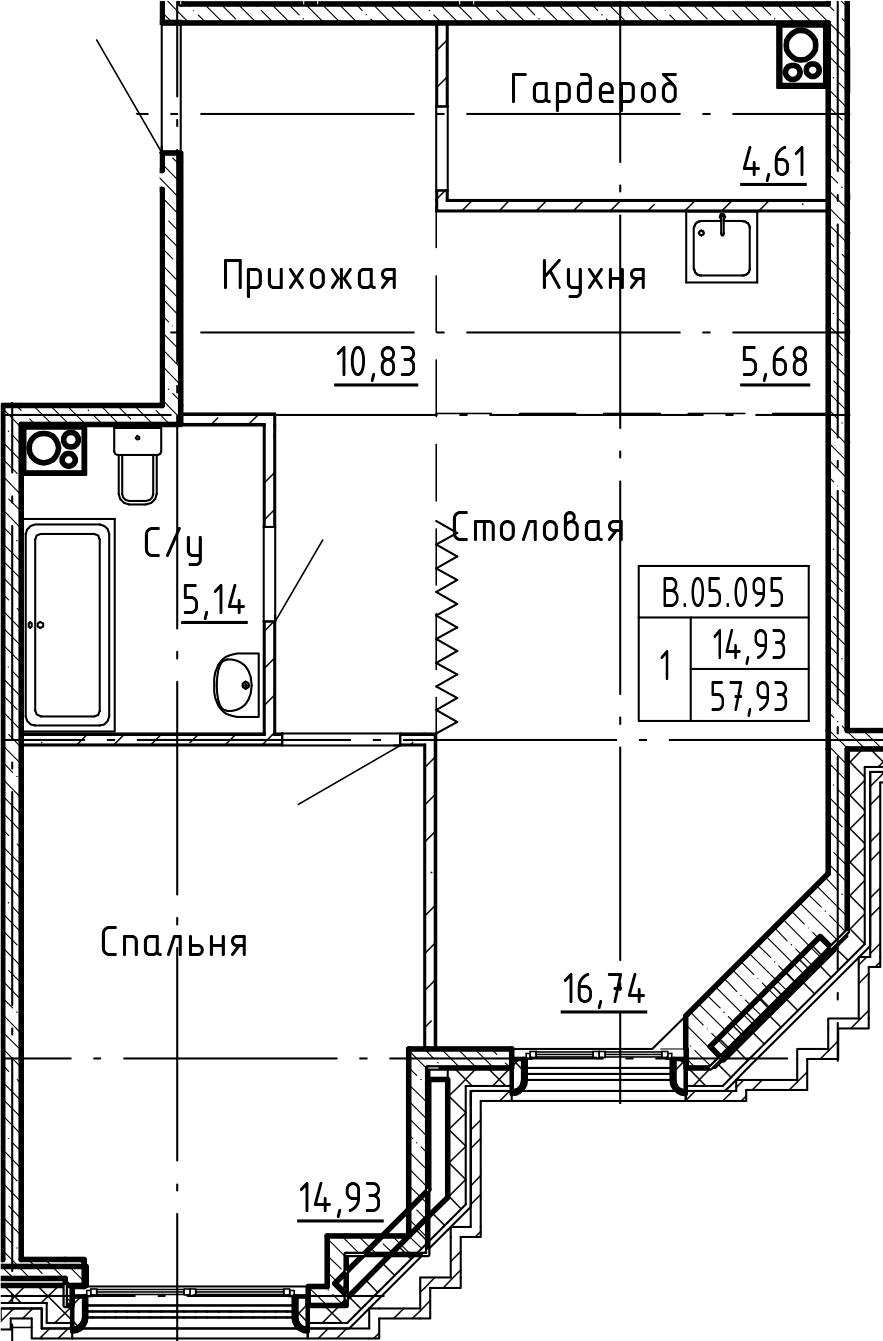 2Е-комнатная, 57.93 м²– 2
