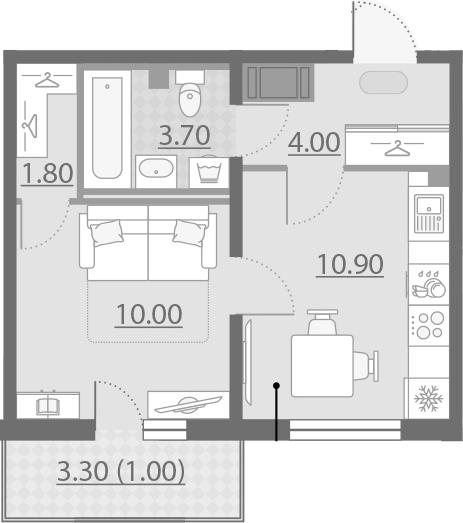 1-к.кв, 33.73 м²