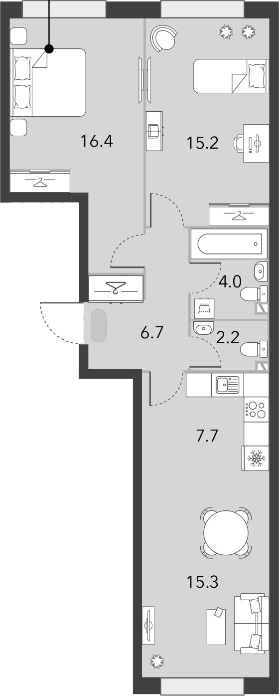3Е-комнатная, 67.5 м²– 2