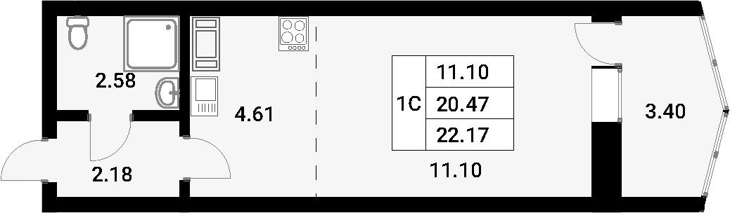 Студия, 23.87 м²