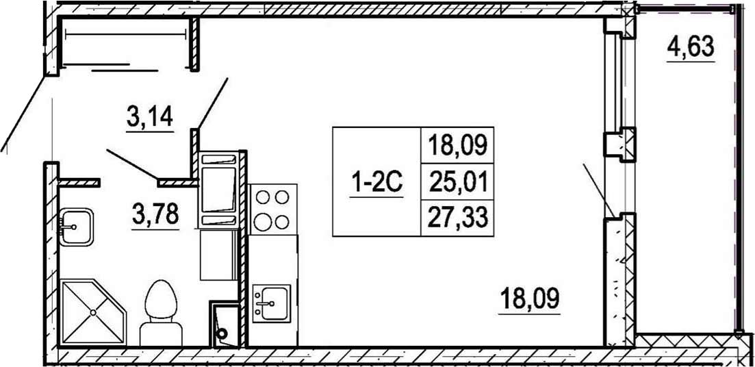 Студия, 29.64 м²
