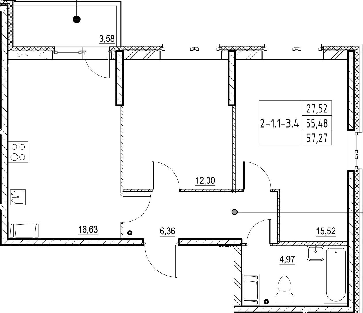 3Е-комнатная, 57.27 м²– 2