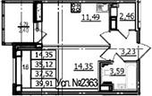 1-комнатная, 35.12 м²– 2