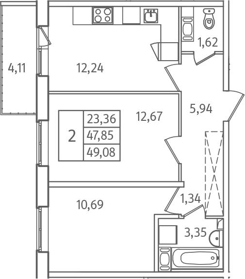2-к.кв, 51.96 м²