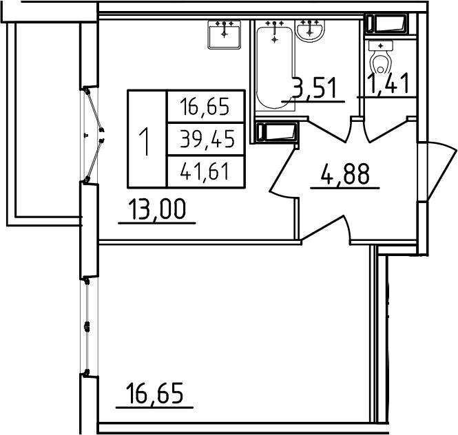 2Е-комнатная, 41.61 м²– 2