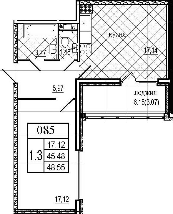 2Е-комнатная, 48.55 м²– 2