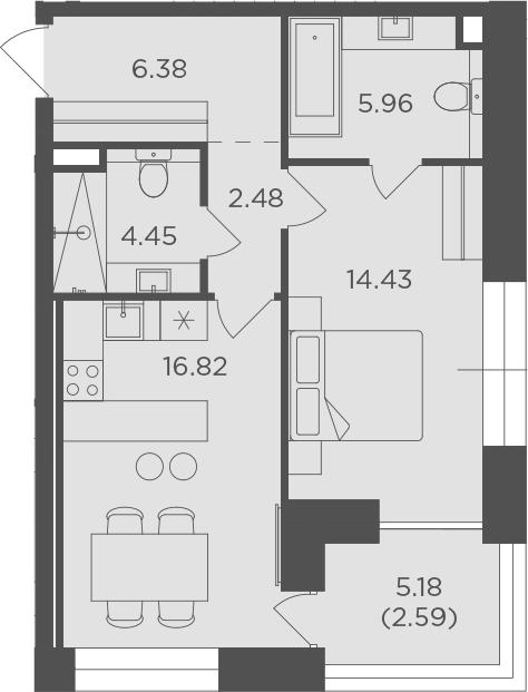 1-комнатная, 53.11 м²– 2