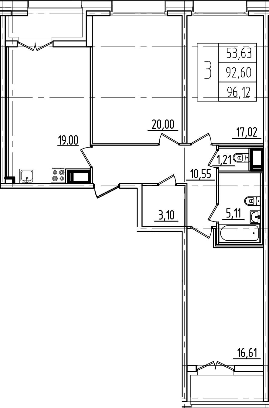 4Е-комнатная, 96.12 м²– 2