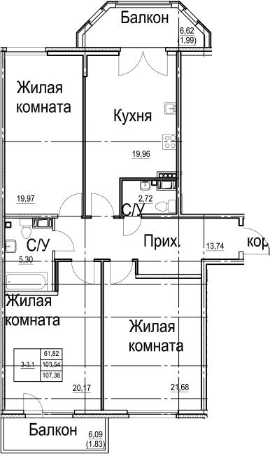 4-к.кв (евро), 116.27 м²