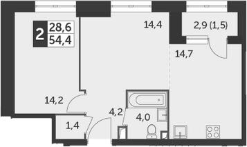 1-к.кв, 54.4 м², 8 этаж