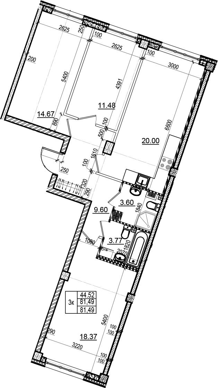 4Е-комнатная, 81.49 м²– 2