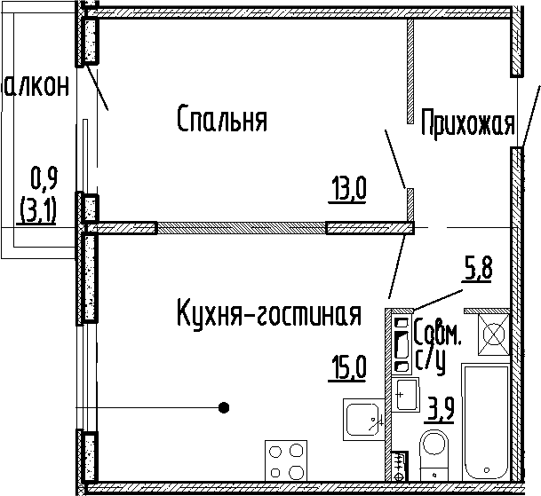2Е-к.кв, 37.7 м², 4 этаж