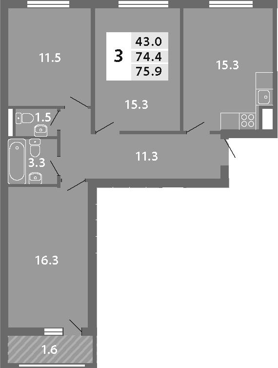 4Е-комнатная, 75.94 м²– 2
