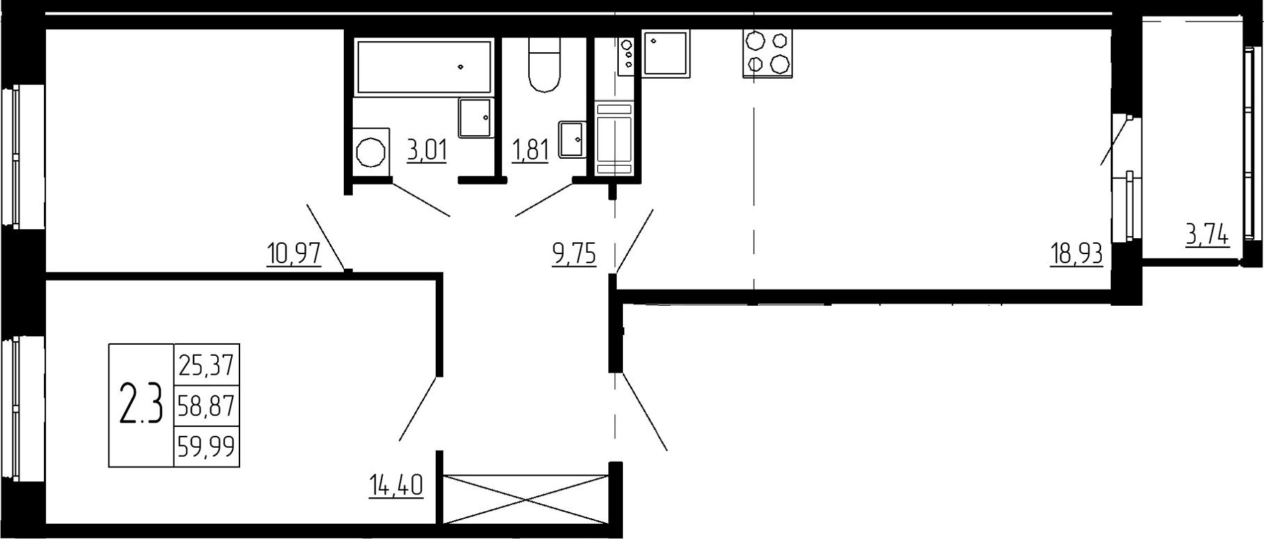 3-к.кв (евро), 62.61 м²