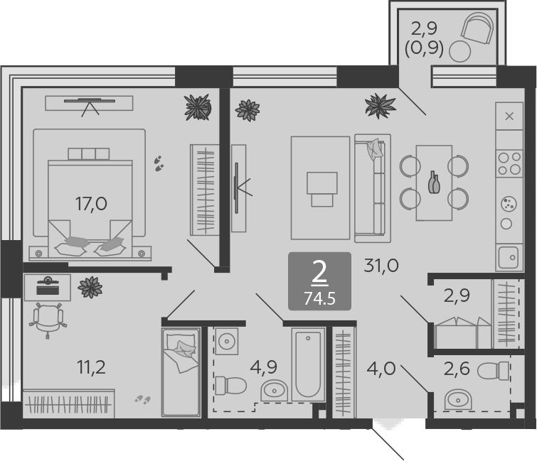 3Е-комнатная, 74.5 м²– 2