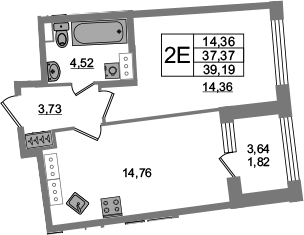 2Е-к.кв, 37.37 м², от 18 этажа
