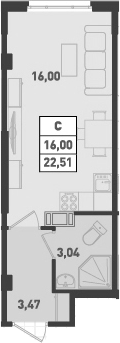 Студия, 22.51 м², 13 этаж – Планировка