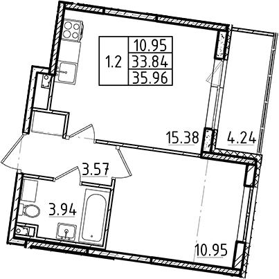 2Е-к.кв, 35.96 м²