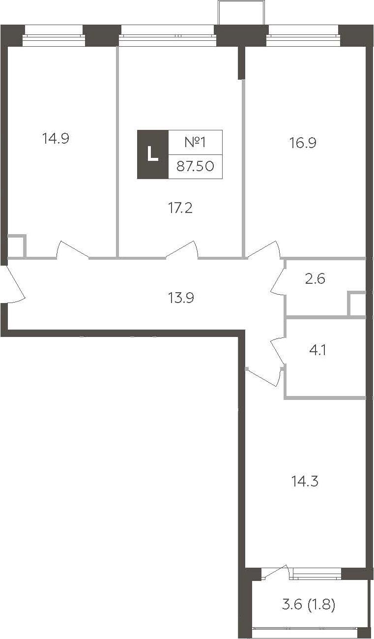 3-к.кв, 87.5 м²