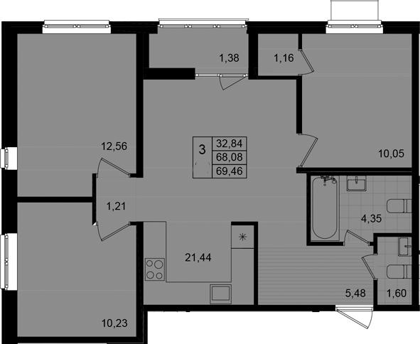 4Е-к.кв, 69.46 м²