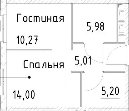 1-к.кв, 40.45 м², от 17 этажа