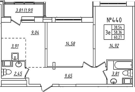 3-к.кв (евро), 58.36 м²