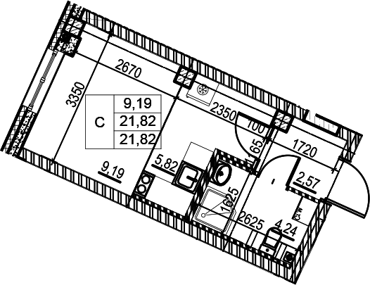 Студия, 21.82 м²