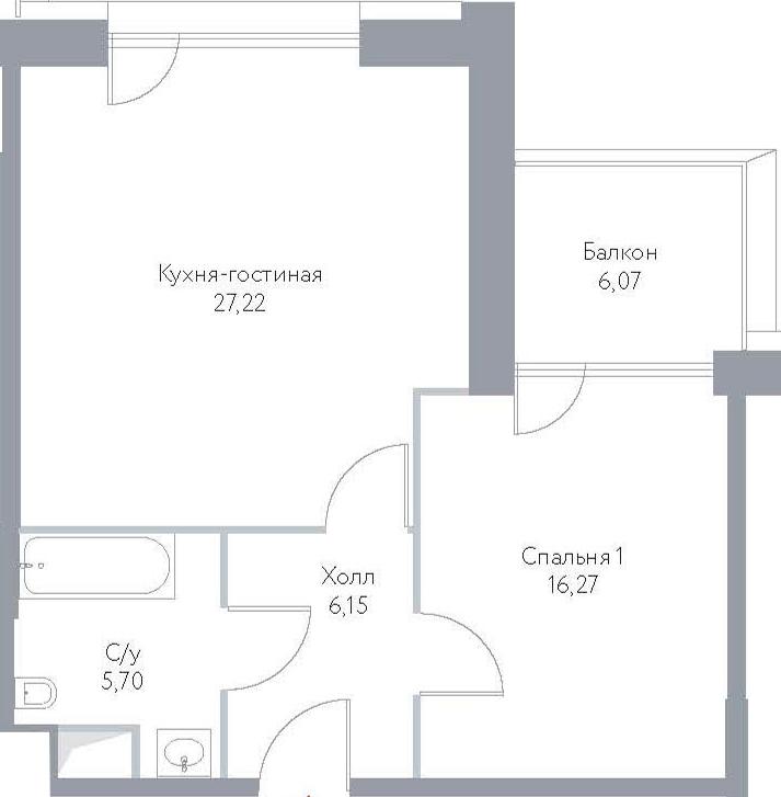 2Е-комнатная, 61.41 м²– 2