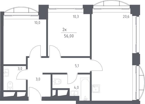 3-к.кв (евро), 56 м²