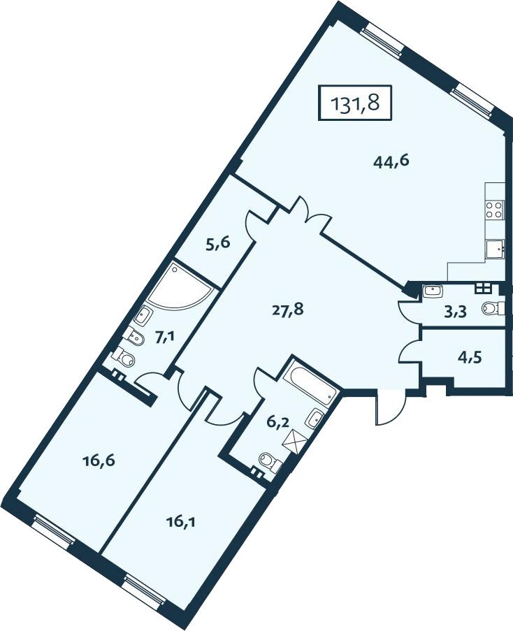 3Е-комнатная, 131.76 м²– 2