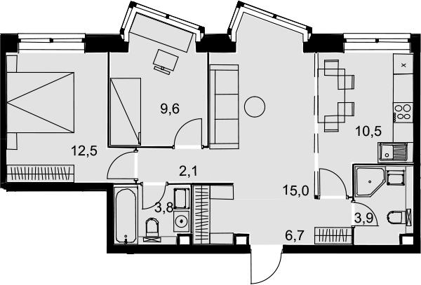 3-к.кв, 64.1 м², 2 этаж