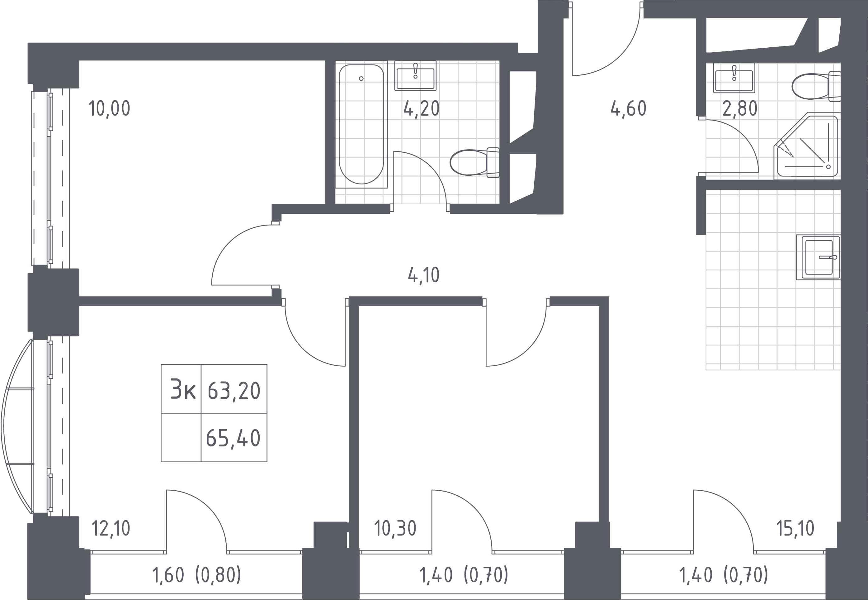 4-к.кв (евро), 67.6 м²