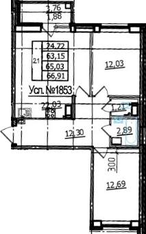 3Е-к.кв, 63.15 м², 12 этаж
