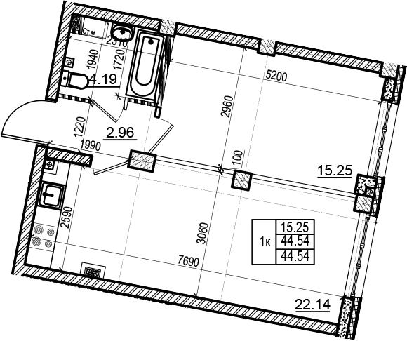 2Е-комнатная, 44.54 м²– 2