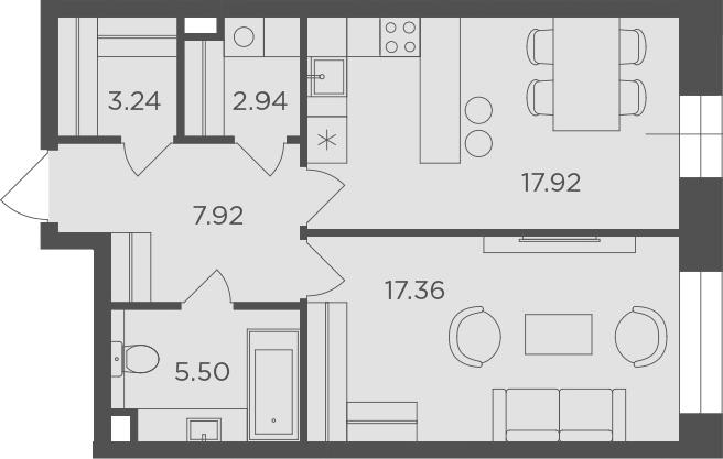 1-комнатная, 54.88 м²– 2