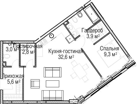 2-к.кв (евро), 62.3 м²