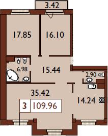 3-к.кв, 112.35 м²