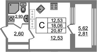 Студия, 23.68 м²