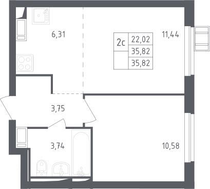2Е-комнатная, 35.82 м²– 2