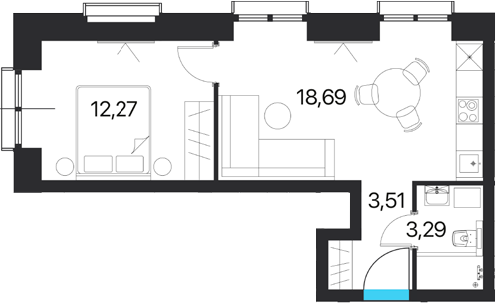 2Е-к.кв, 37.76 м², 7 этаж