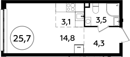 Студия, 25.7 м²