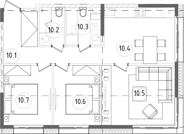 3-к.кв, 65.24 м², от 10 этажа