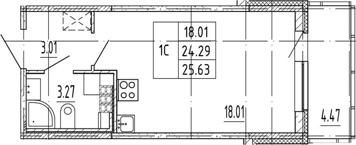 Студия, 24.29 м²– 2
