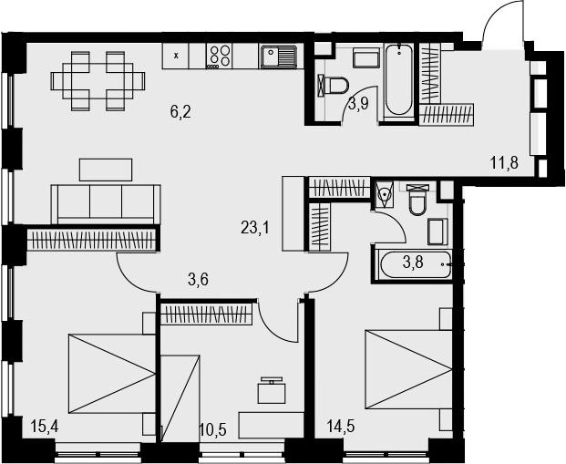 4Е-комнатная, 92.8 м²– 2