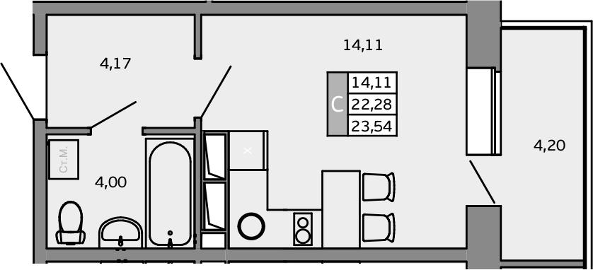 Студия, 26.48 м²