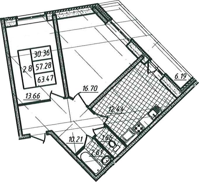 2-комнатная, 57.28 м²– 2