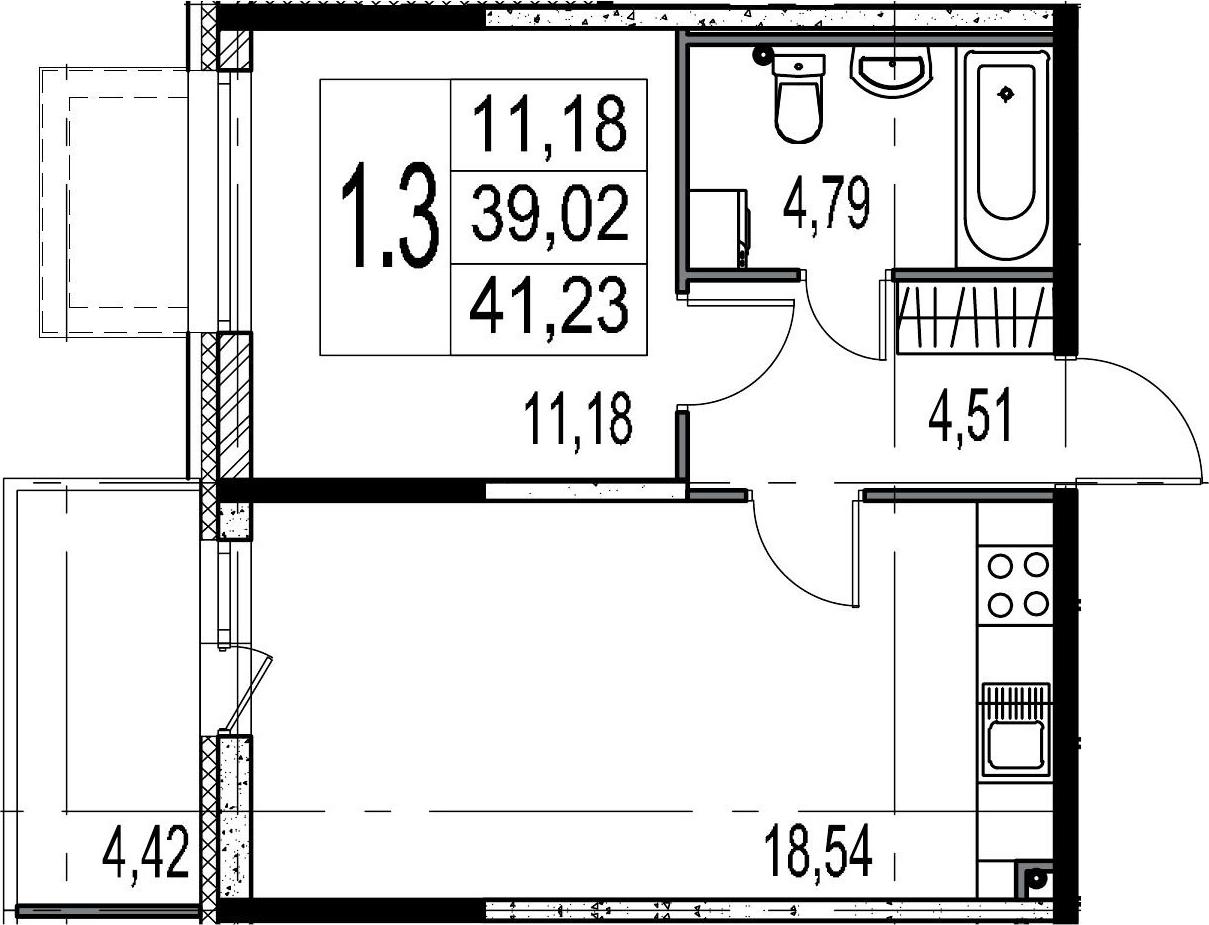 2-к.кв (евро), 43.44 м²