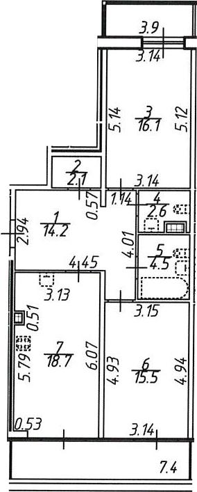 2-комнатная, 77.9 м²– 2