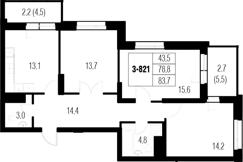 3-к.кв, 88.6 м²