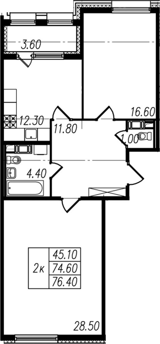2-комнатная, 74.6 м²– 2